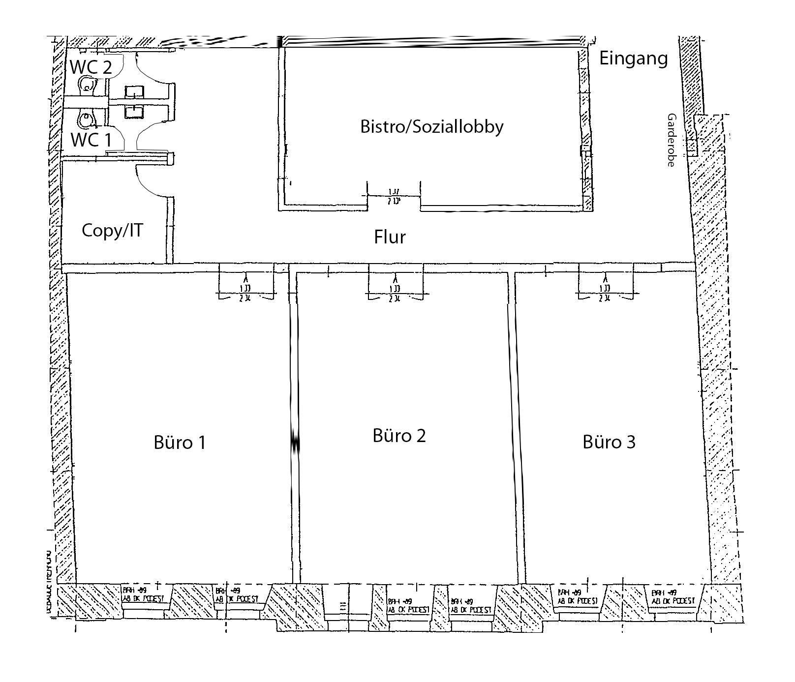 Grundriss zur Bürofläche